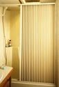 Pleated Shower Door, Ivory - Up to 36