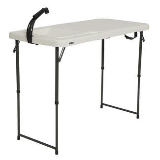 Lifetime 4u0027 Fold In Half Adjustable Height Outdoorsman Table