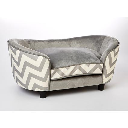 Ultra Plush Chevron Snuggle Pet Sofa, Gray
