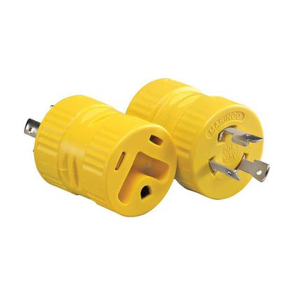 One-Piece Generator Adapter, 20 Amp 3-Prong Male to 30 Amp Female