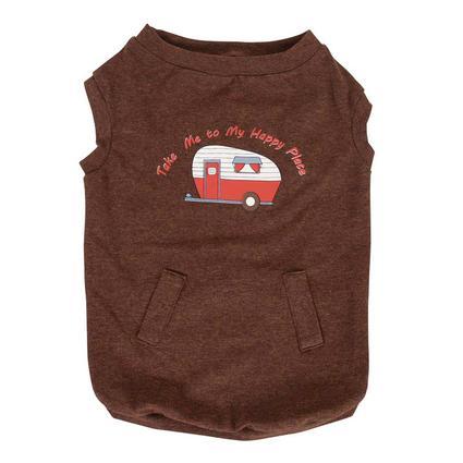 Happy Place Pet Tee Shirt, Brown, Medium