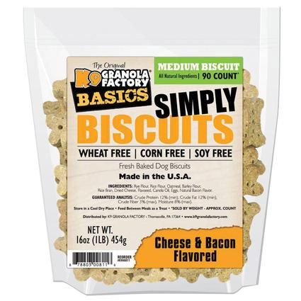 Simply Biscuits Medium Cheese and Bacon Dog Treats, 16 oz. Bag