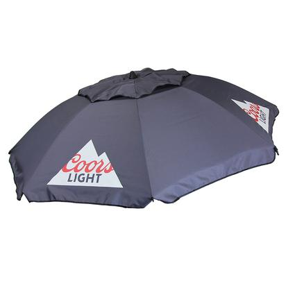 Coors Lite Beach Umbrella with Travel Bag, Gray, 7'