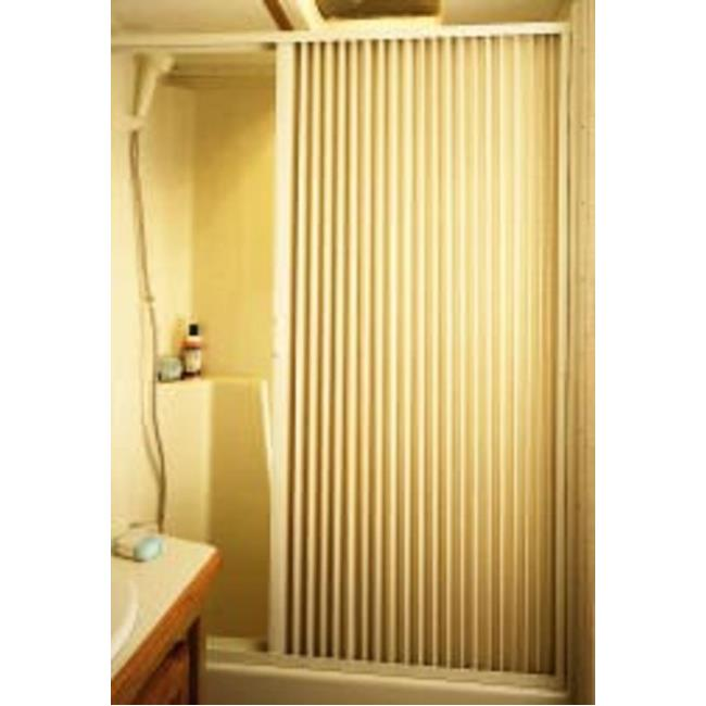 Pleated Shower Door, Ivory - Up to 36\