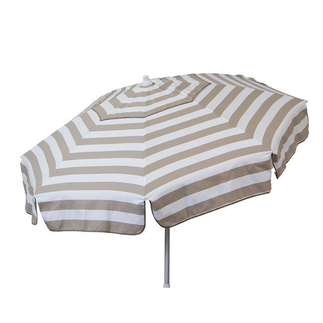 Image Italian 6 Ft Patio Umbrella Acrylic Stripes Khaki And White. To  Enlarge The Image .