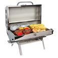 12,000 BTU grill uses disposable LP cylinders or standard commercial LP cylinders.