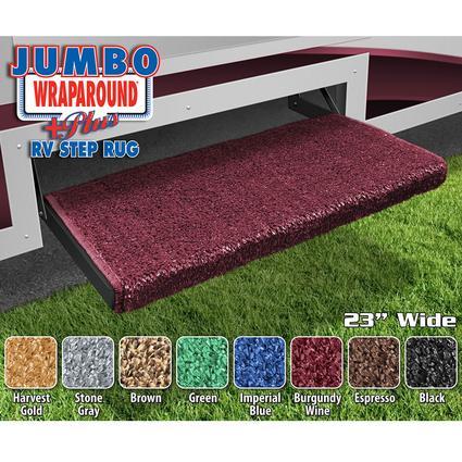 Jumbo Wraparound Plus RV Step Rug - Burgundy Wine
