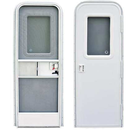 Polar White Radius Corner RV Entrance Doors