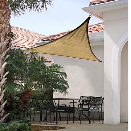 ShadeLogic Sun Shade Sail, Triangle- Sand 16' x 16' x 16'