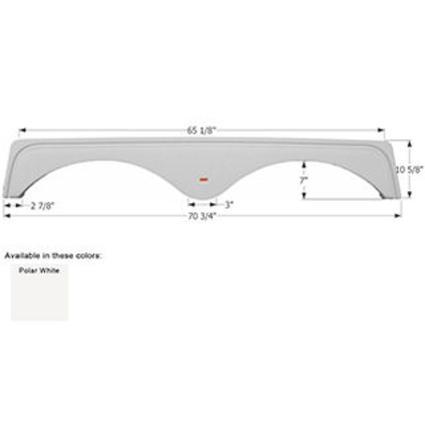 Keystone Tandem Fender Skirt FS1751 - Polar White