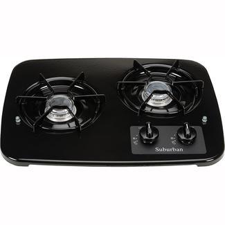 2 burner dropin cooktop black top