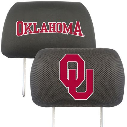 Fanmats Head Rest Covers, Set of 2 - University of Oklahoma