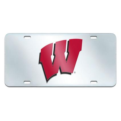 Fanmats Mirrored Team License Plate - University of Wisconsin