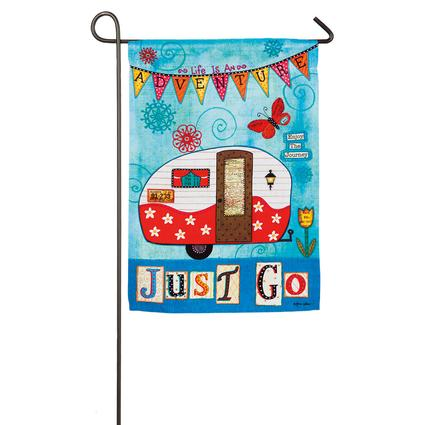 Just Go Vintage Trailer Garden Flag Evergreen 14S3404 Flags