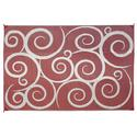 Reversible Patio Mats, 6' x 9' Swirl Design Terracotta/Cream