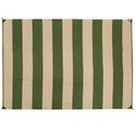 Reversible Patio Mats, 9' x 12' Basic Stripe Dark Green/Tan
