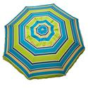 Lime Striped Beach Umbrella with Travel Bag, 7'