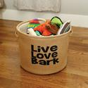 Live, Love, Bark, Burlap Storage Baskets, Large