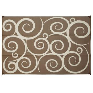 Direcsource Ltd Reversible Patio Mat, 9u0027 X 12u0027, Brown/Cream Swirl Design