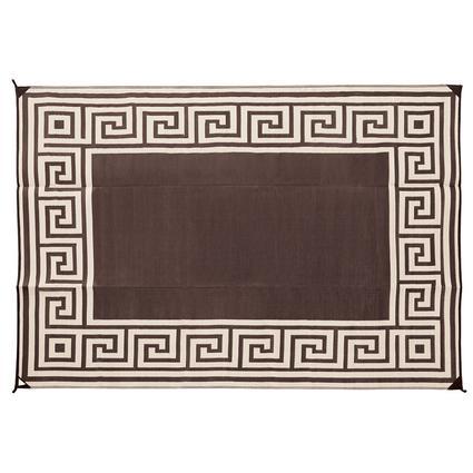 Patio Mat, Polypropylene, Greek Design, 9x12, Coffee Brown