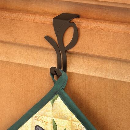 Leaf Over-Cabinet Single Hook, Bronze Finish