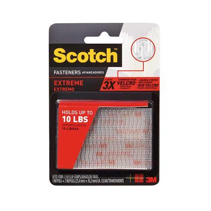 Scotch Extreme Fasteners, 1 x 3, Clear, Set of 2