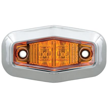 Mini Sealed LED Clearance/Marker Light Amber w/ Chrome Trim Ring