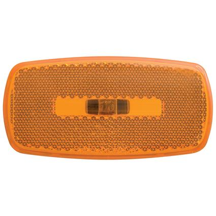 Rectangular Reflector/Clearance/Marker Light - twist-in socket Amber Black Base