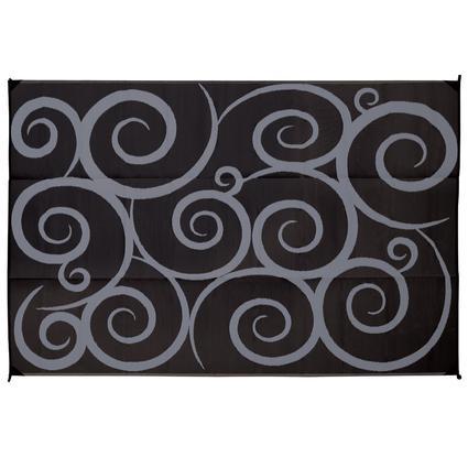 Direcsource Ltd Reversible Patio Mat, 9u0027 X 12u0027, Black/Gray Swirl Design