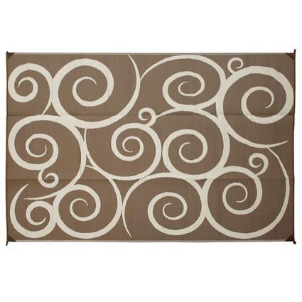 Reversible Patio Mats, 9' x 12' Swirl Design Brown/Cream