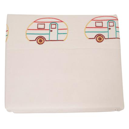 Microfiber Camping Theme Sheets, Ivory with Vintage RV, Short Queen