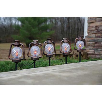 Oil Rubbed Bronze Lantern Stake Lights, Set of 5