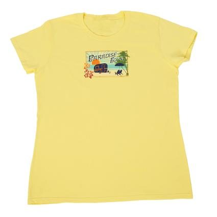 Women's Paradise Found Postcard Tee, Yellow Large