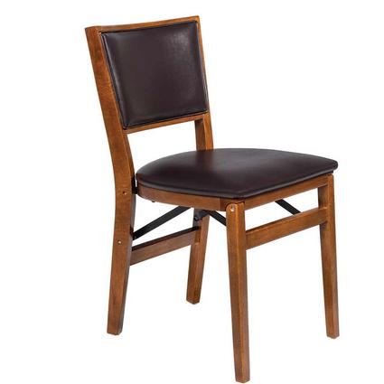 Upholstered Folding Wood Chair, Retro Fruitwood with Expresso Bonded Leather