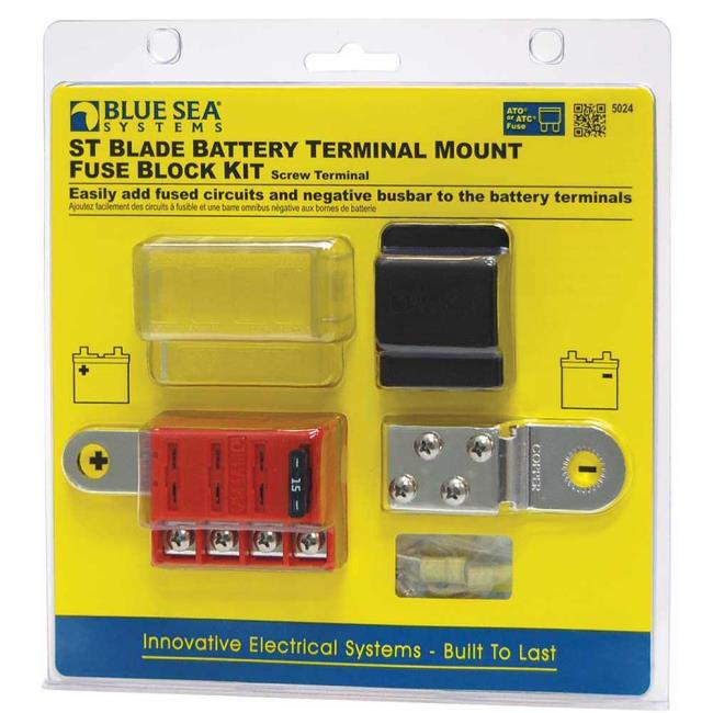 st blade battery terminal mount fuse block kit blue sea systems rh campingworld com Automotive Fuse Box Motorcycle Fuse and Relay Box