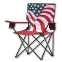 Folding Quad Camp Chair, American Flag Pattern