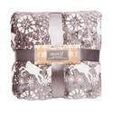 Velvet Holiday Blankets, 90 x 90, Reindeer, Gray, Full/Queen