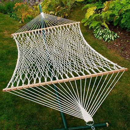 Double Cotton Rope Hammock with Hardware and Pillow, 13'