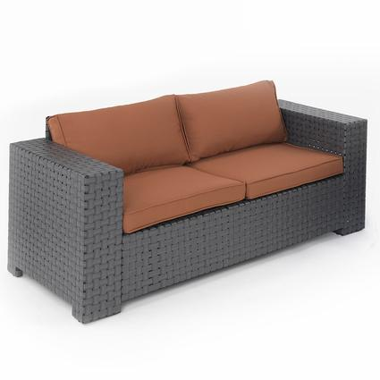 Portable Outdoor Wicker Love Seat - Mocha, 72