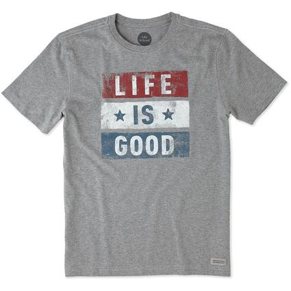 Men's Life is Good Stars and Stripes Tee, XL