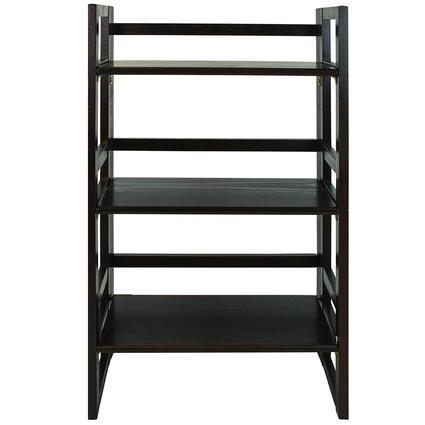 Folding 3-Tier Student Bookshelf, Espresso