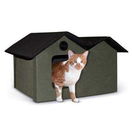 Extra-Wide Outdoor Kitty House, Olive/Black
