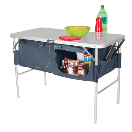 Fold-N-Half Table with Heat Resistant Top and Storage Bins