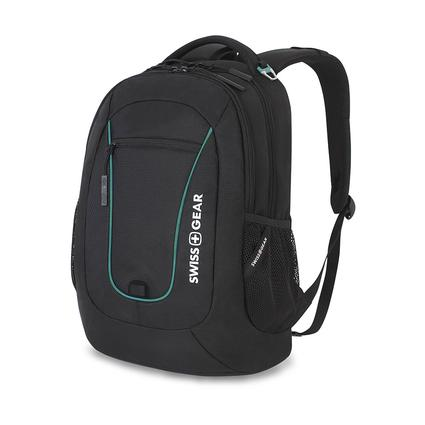 SwissGear Backpack with Padded Computer Pouch and Tablet Pocket, Black/Teal