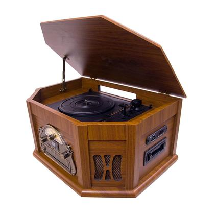 7-in-1 Classic Vintage Turntable/CD, Mahogany