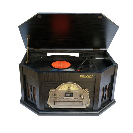 7-in-1 Classic Vintage Turntable/CD, Black