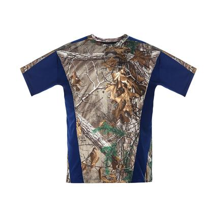 Realtree Men's Short Sleeve Active Tee, Navy, Medium