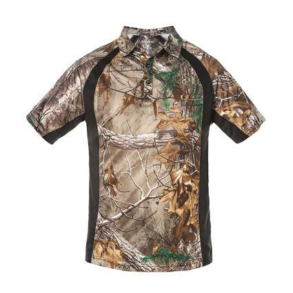 Realtree Men's Short Sleeve Polo Shirt, Black, XL