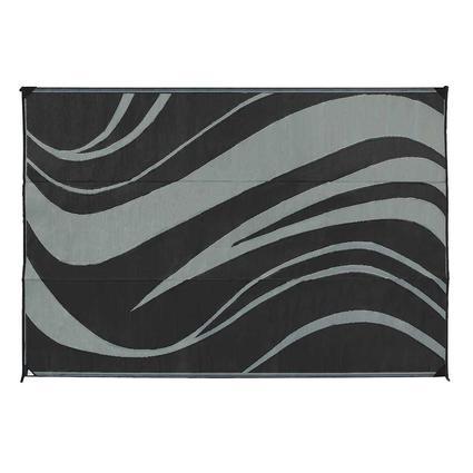 Reversible Wave Design Patio Mat, 9 x 12, Black/Gray