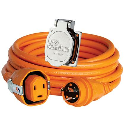 30 Amp Dual Configuration 50' Cordset with Twist-Type Connection and Non-Metallic Inlet, Orange/Stainless
